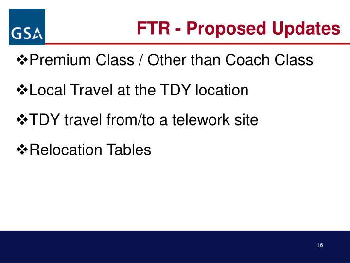 FTR - Proposed Updates