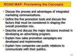road map previewing the concepts