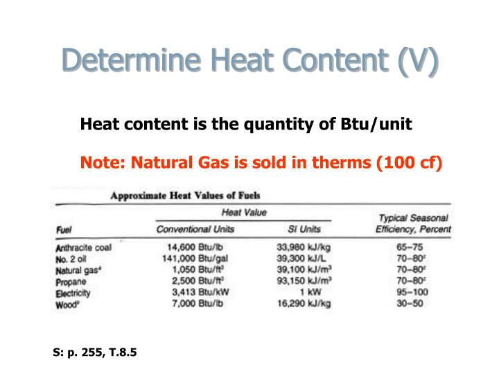 Determine Heat Content (V)