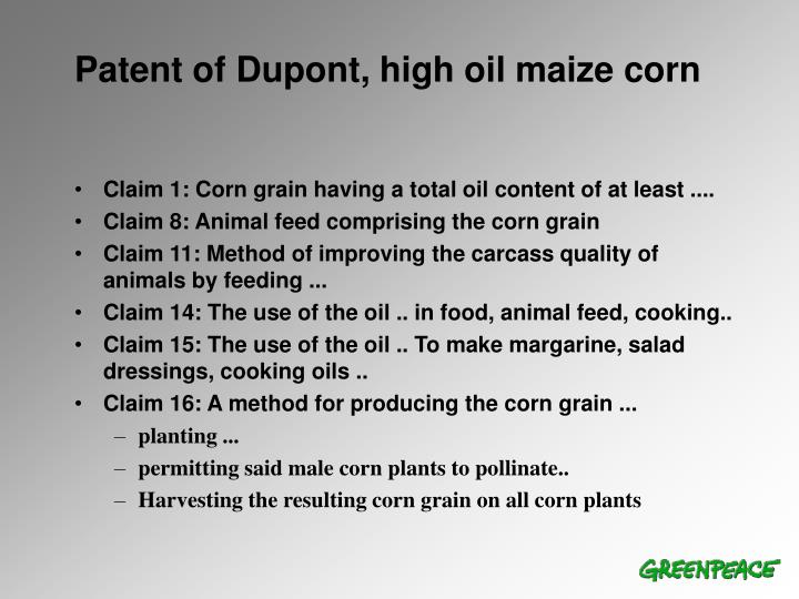 Patent of Dupont, high oil maize corn