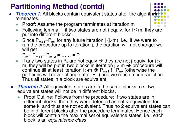 Partitioning Method (contd)