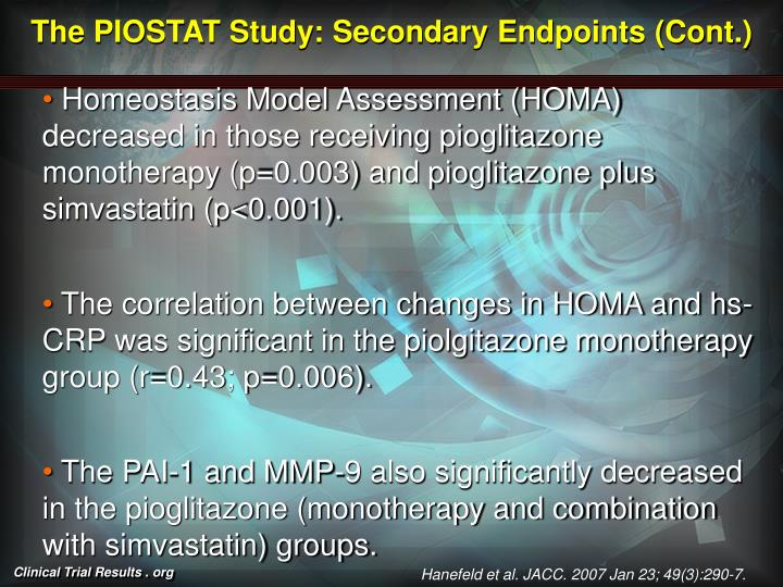 The PIOSTAT Study: Secondary Endpoints (Cont.)