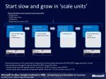 start slow and grow in scale units