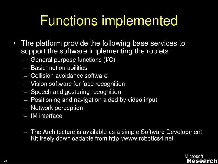 Functions implemented