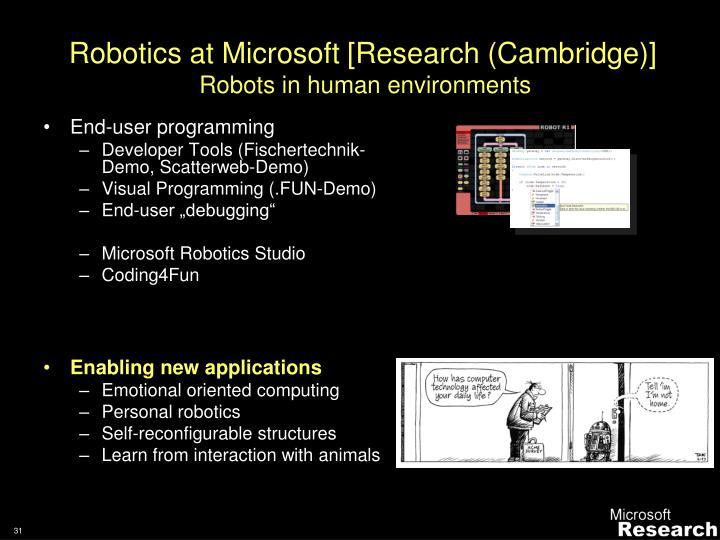 Robotics at Microsoft [Research (Cambridge)]