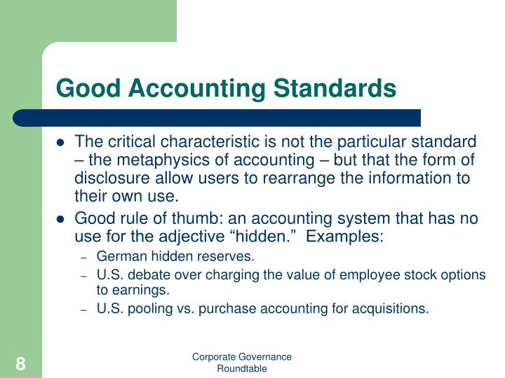 Good Accounting Standards