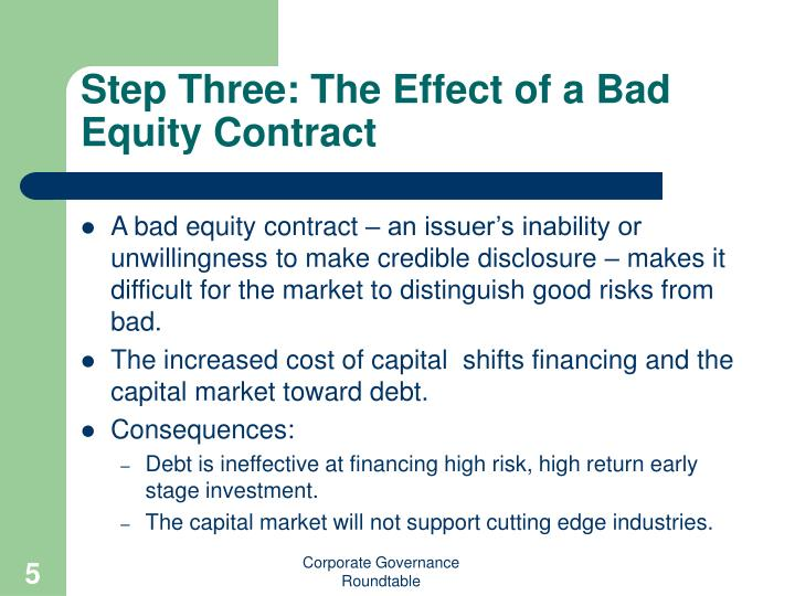 Step Three: The Effect of a Bad Equity Contract