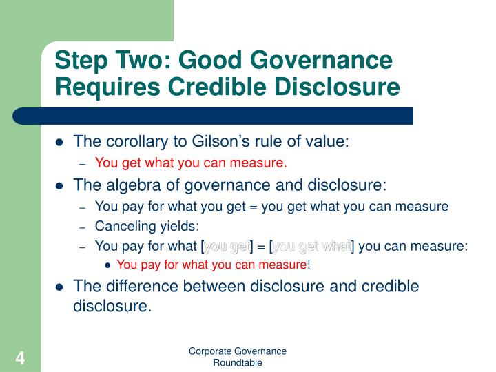 Step Two: Good Governance Requires Credible Disclosure