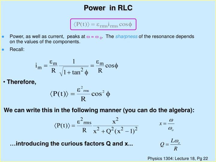 Power  in RLC