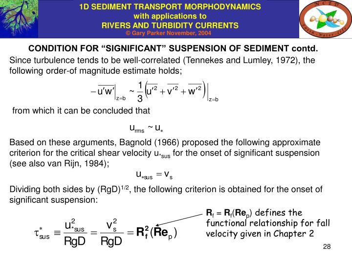 "CONDITION FOR ""SIGNIFICANT"" SUSPENSION OF SEDIMENT contd."