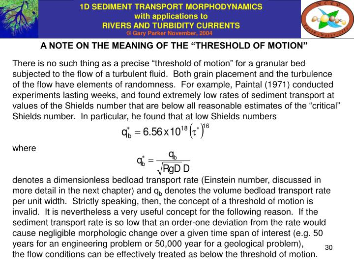 """A NOTE ON THE MEANING OF THE """"THRESHOLD OF MOTION"""""""
