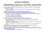 lexical analysis modeling scanners as finite automata