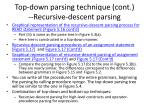 top down parsing technique cont recursive descent parsing