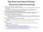 top down parsing technique recursive descent parsing