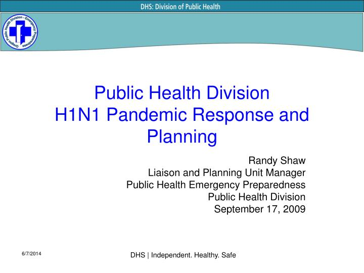 public health division h1n1 pandemic response and planning