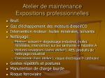 atelier de maintenance expositions professionnelles