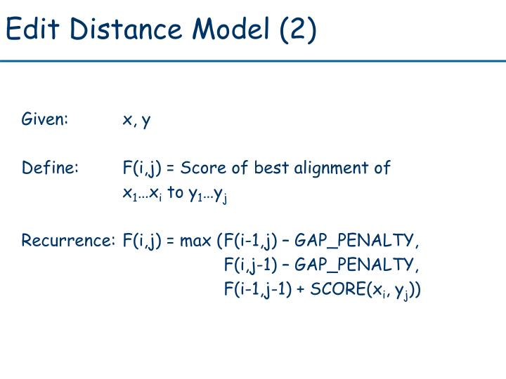 Edit Distance Model (2)