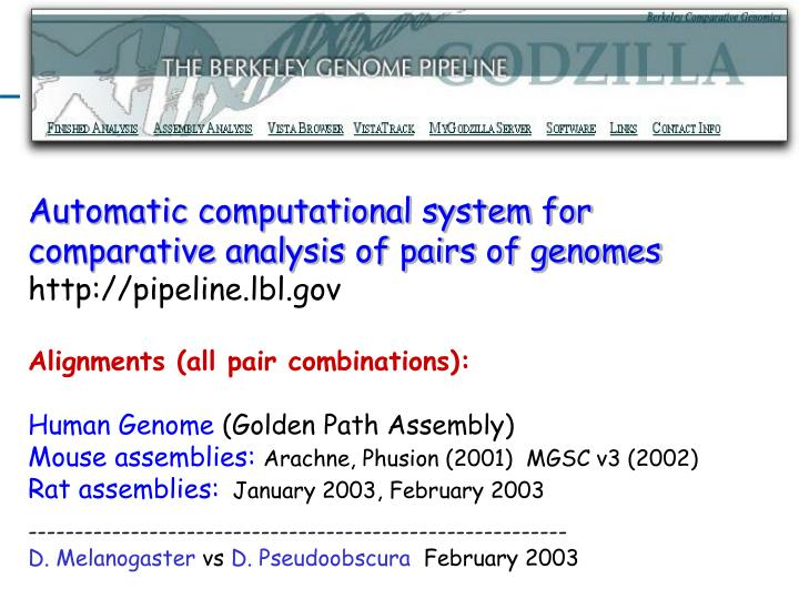 Automatic computational system for comparative analysis of pairs of genomes