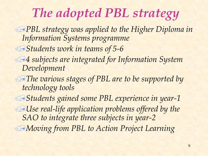 The adopted PBL strategy