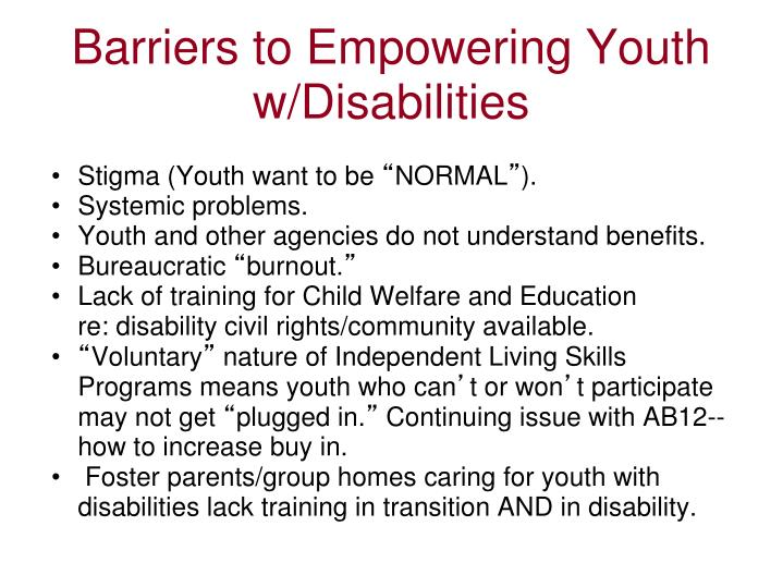 Barriers to Empowering Youth w/Disabilities