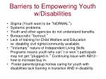 barriers to empowering youth w disabilities
