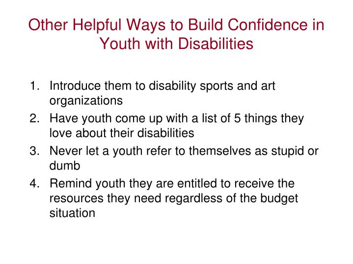 Other Helpful Ways to Build Confidence in Youth with Disabilities