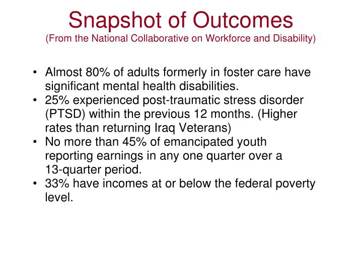 Snapshot of Outcomes