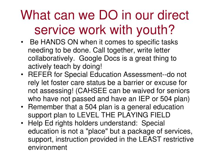 What can we DO in our direct service work with youth?