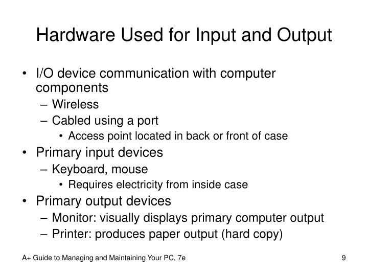 Hardware Used for Input and Output