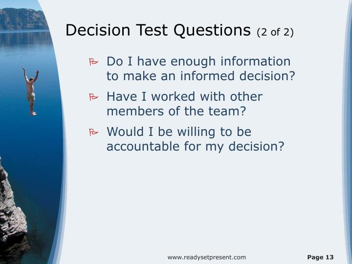Decision Test Questions