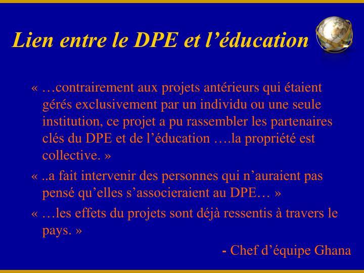 Lien entre le DPE et l'éducation