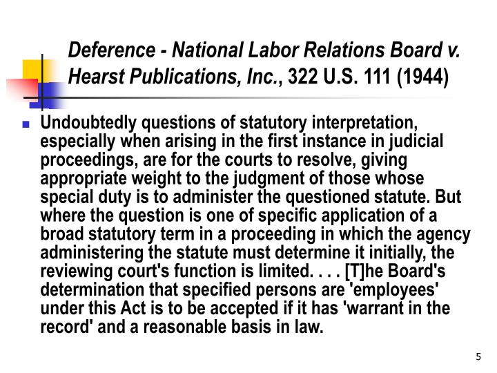 Deference - National Labor Relations Board v. Hearst Publications, Inc.