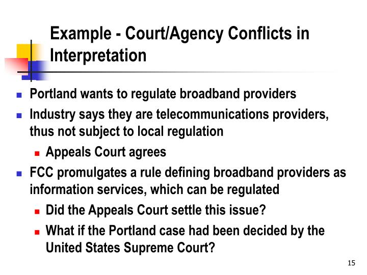 Example - Court/Agency Conflicts in Interpretation