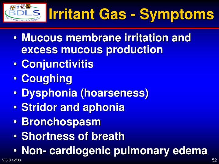 Irritant Gas - Symptoms