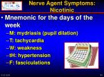 nerve agent symptoms nicotinic