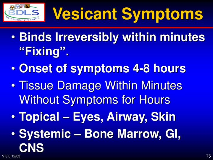 Vesicant Symptoms