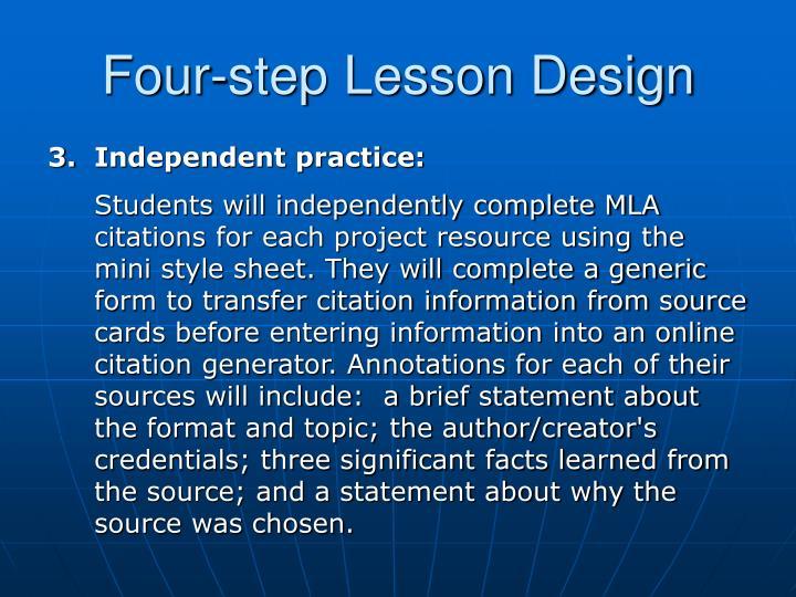 Four-step Lesson Design