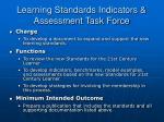 learning standards indicators assessment task force