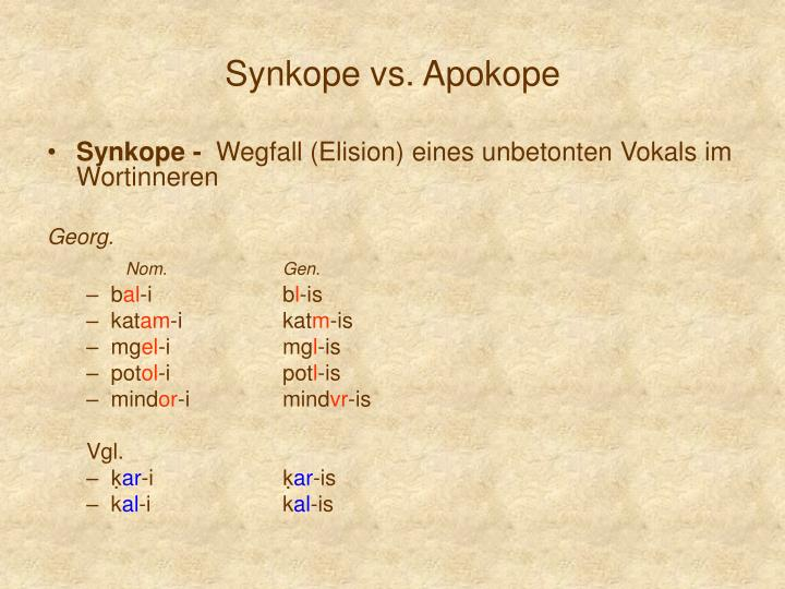 Synkope vs. Apokope