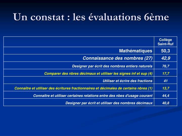 Un constat : les évaluations 6ème