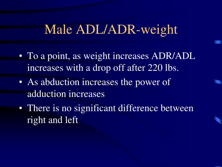 Male ADL/ADR-weight