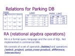 relations for parking db
