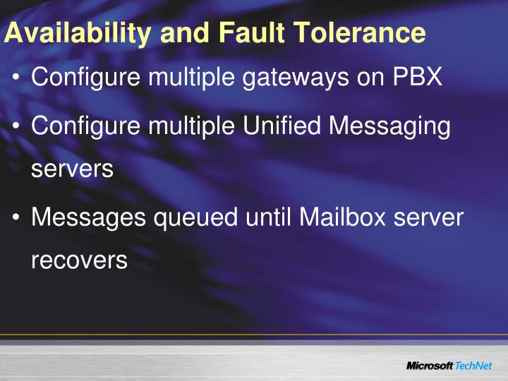 Availability and Fault Tolerance