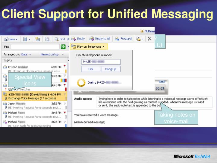 Client Support for Unified Messaging