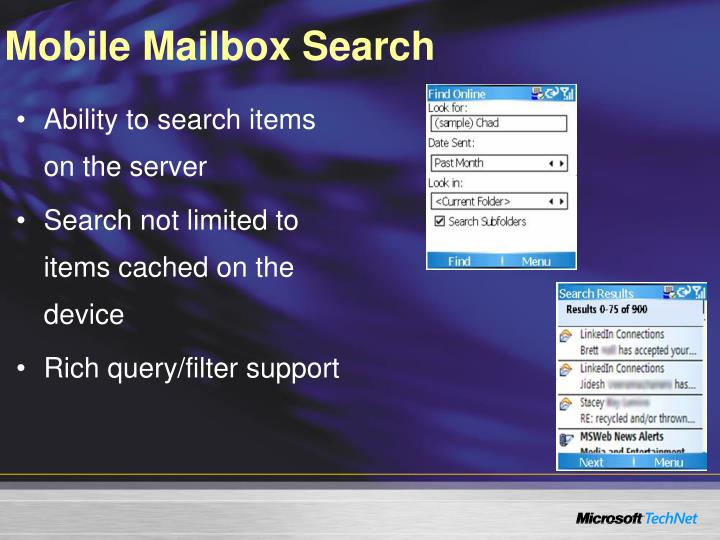 Mobile Mailbox Search
