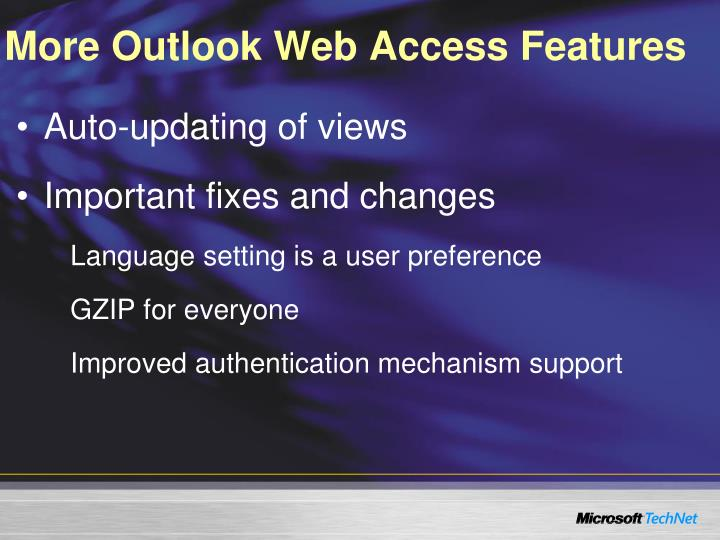 More Outlook Web Access Features