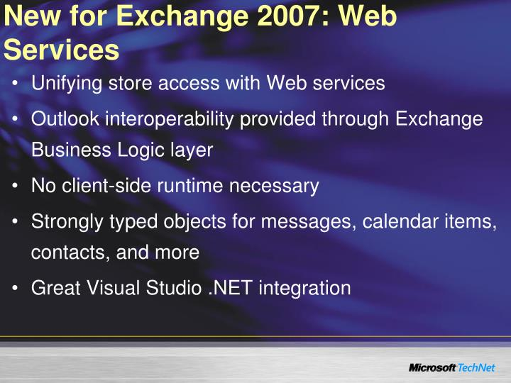 New for Exchange 2007: Web Services