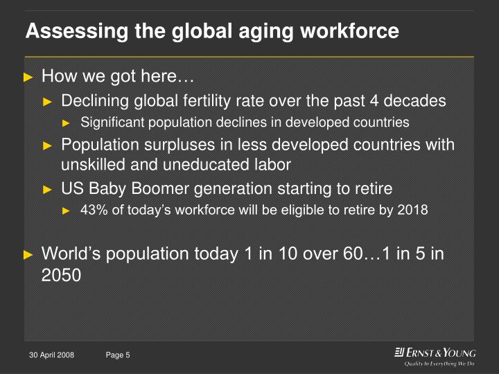 Assessing the global aging workforce