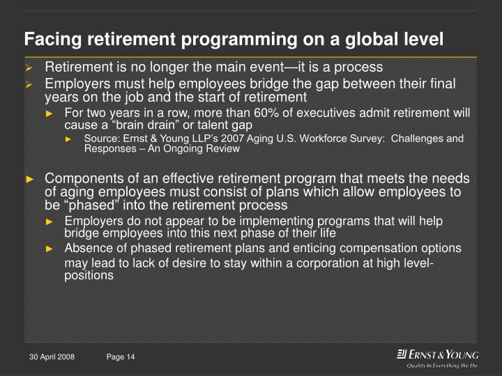 Facing retirement programming on a global level