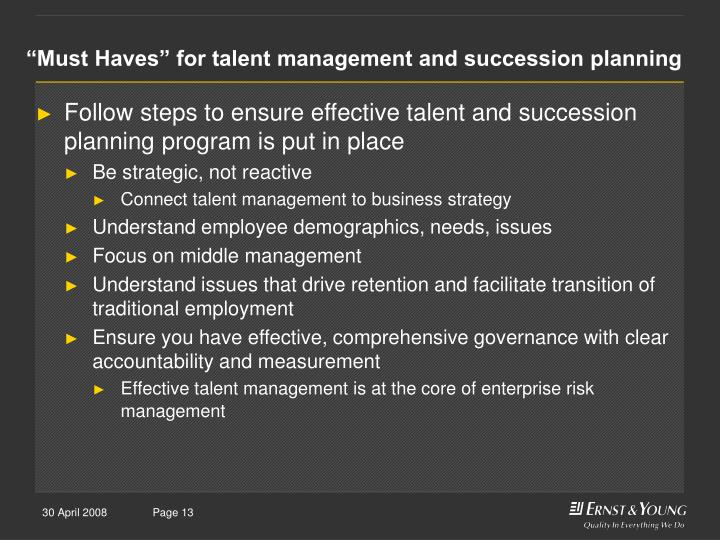 """Must Haves"" for talent management and succession planning"